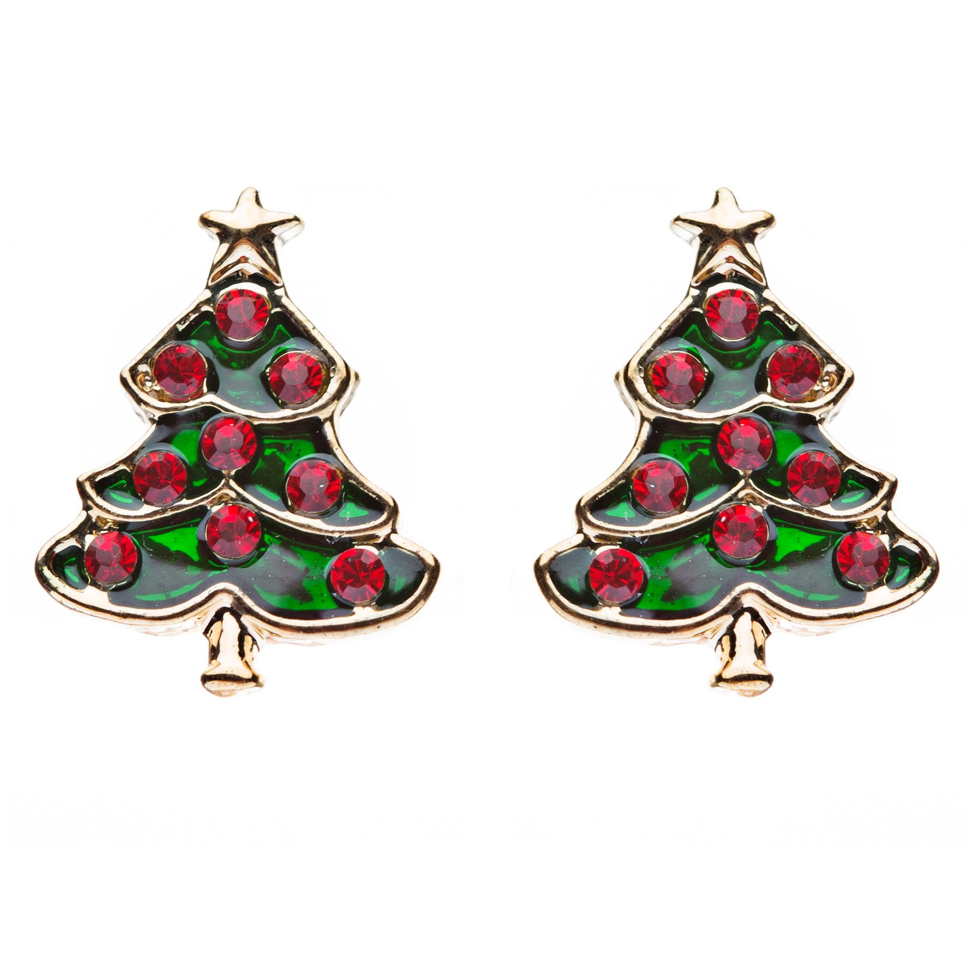 ACCESSORIESFOREVER Christmas Jewelry Crystal Rhinestone Adorable Tree Small Earrings E647 Red