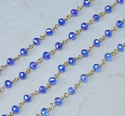 9 Faceted Sapphire Blue AB Rondelle Glass 6 x 4mm One Meter 39.5 Beaded Rosary Link Chain Bright Silver 960-02