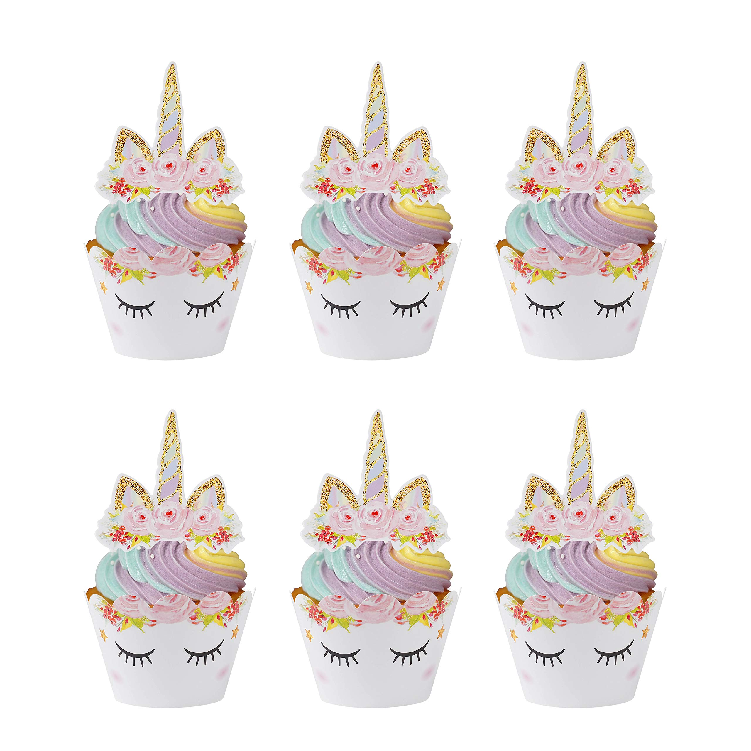 MengH-SHOP Cupcake Toppers Eyelash Cupcake Wrappers Unicorn Cupcake Wraps Liner Baking Cup for Kids Girls Birthday Themed Party Baby Shower 24 Sets