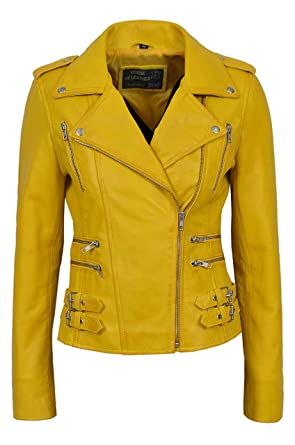 fb7505b2b 'MYSTIQUE' Ladies yellow Biker Style Motorcycle Designer Nappa Leather  Jacket