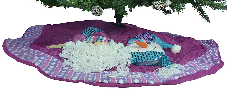 amazoncom 48 inch beautiful pink purple christmas tree skirt with santa snowman home kitchen