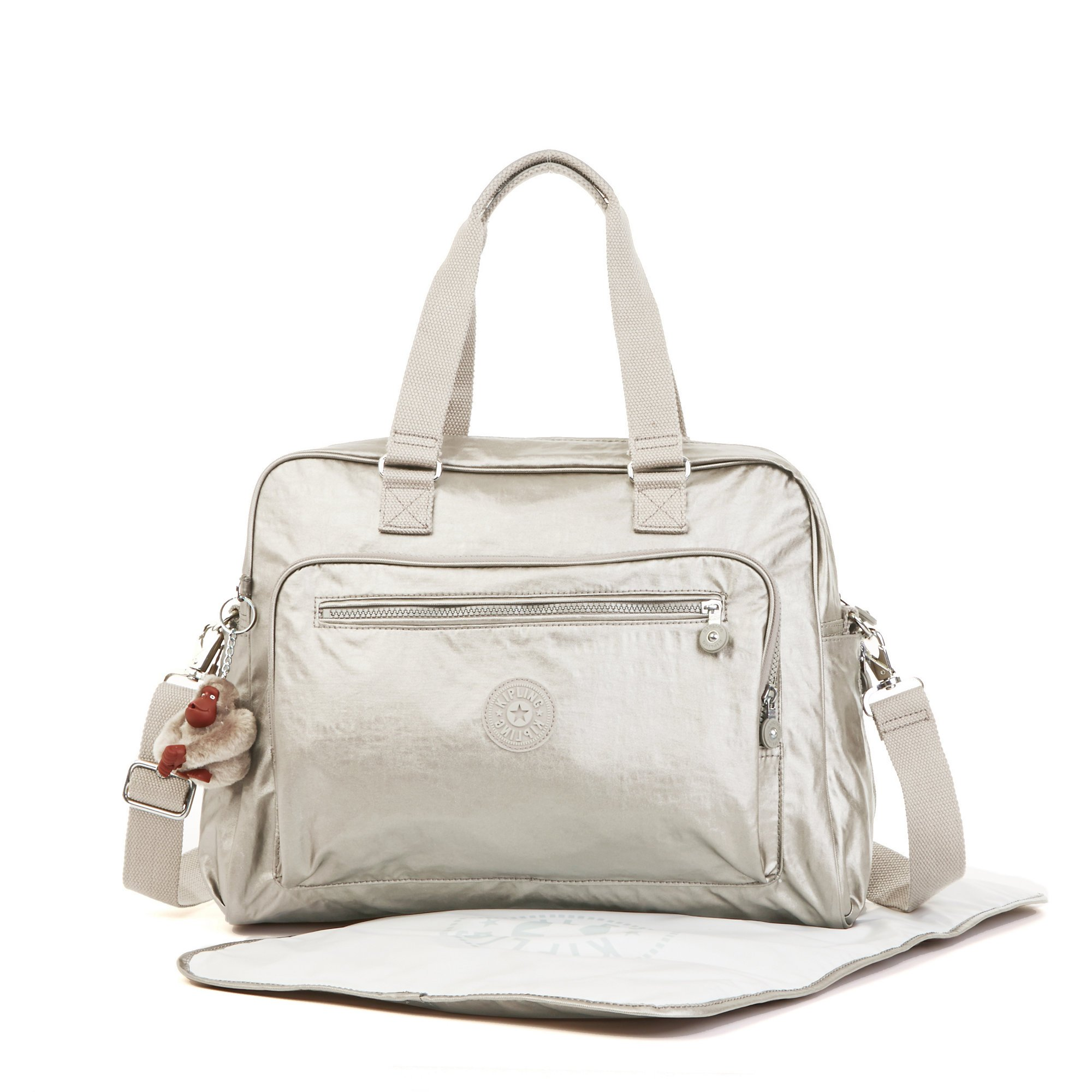 Kipling Alanna Baby Bag with multiple compartments, Cloud Grey Metallic