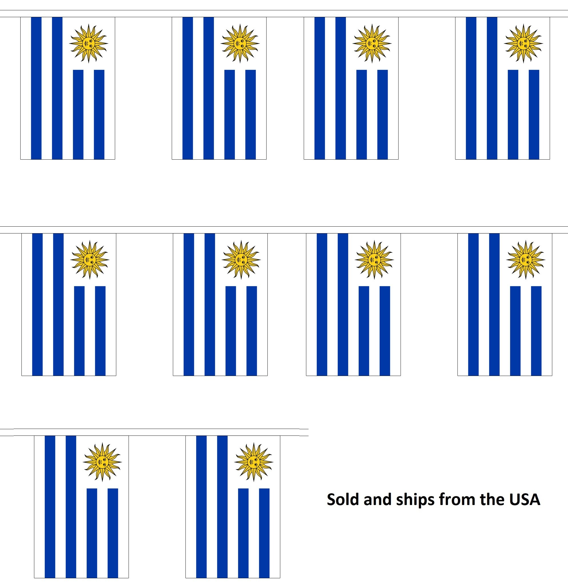 30' Uruguay String Flag Party Bunting Has 30 Uruguayan 6''x9'' Polyester Banner Flags Attached, Popular For School Classroom, Special Events, Bars, Restaurants, Country Theme Parties