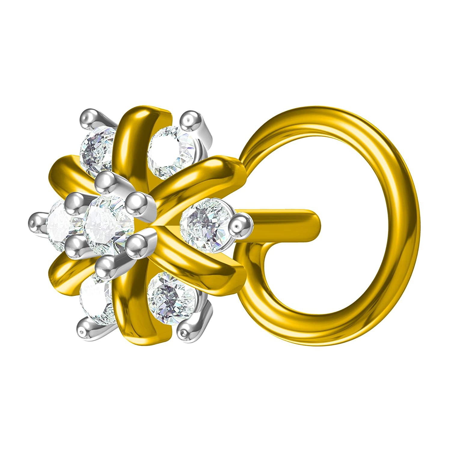Silverraj 14K White Gold Plated Fn Simulated Diamond Studded Nose Stud Pin Body Piercing Jeweley