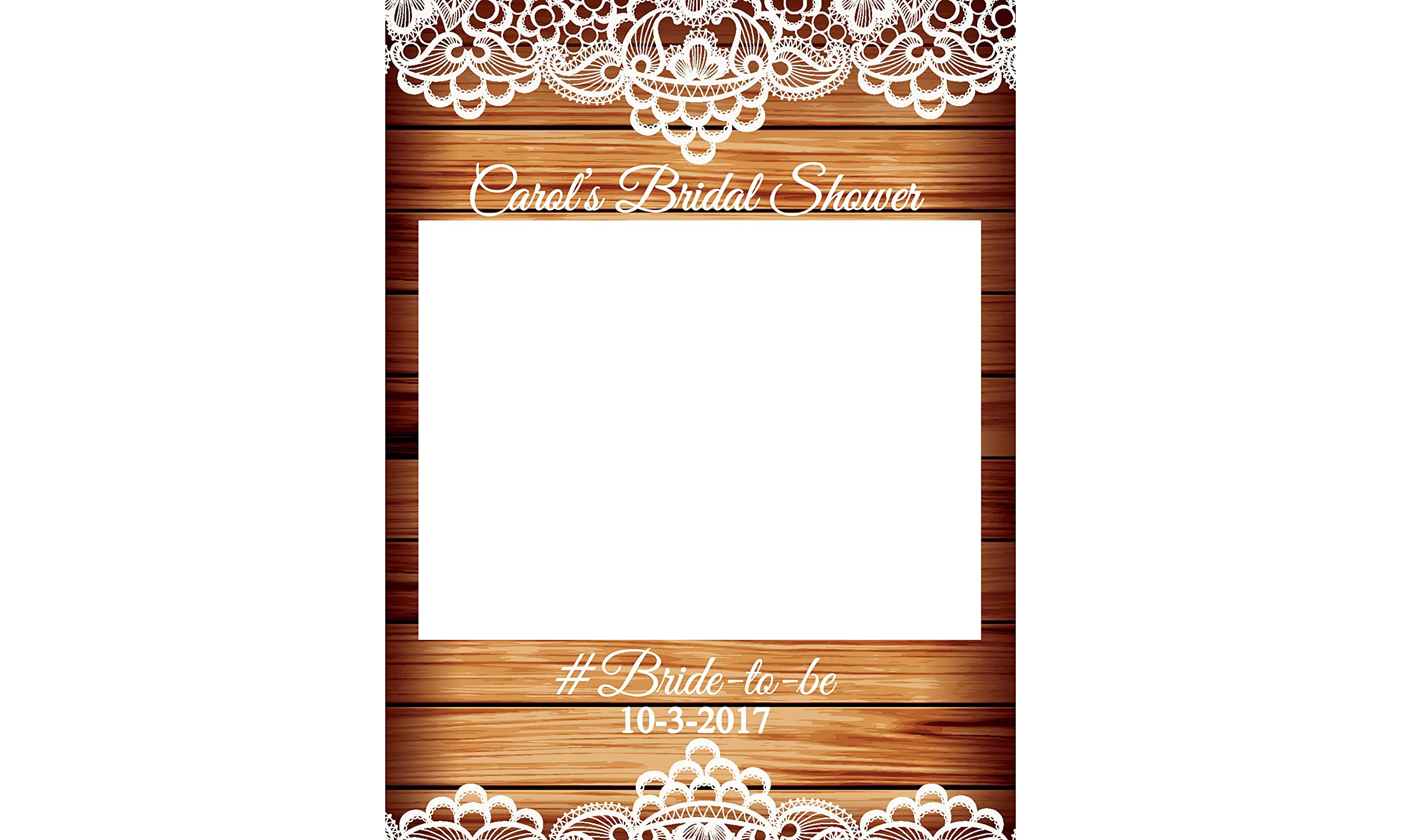 rustic wedding decorations lace bridal shower decorations photobooth selfie frame sizes 36x24 48x36 personalized photo prop