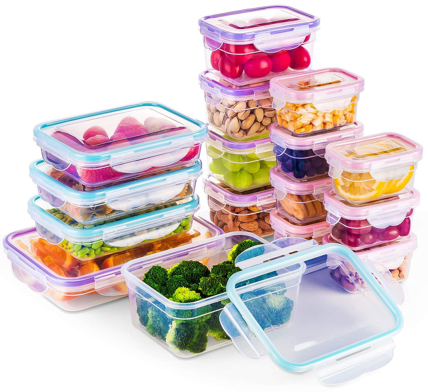 [16 Pack] Food Storage Containers with Lids, Plastic Food Containers with Lids, Airtight Storage Container Sets for Healthy Diet, Vegetables, Snack & Fruit (Small&Large Size), BPA Free & Leakproof by Bayco (Image #1)
