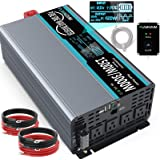 FLAMEZUM 1500W Pure Sine Wave Power Inverter DC 12v to AC 110v-120v Peak Power 3000W with 4.8A Dual USB Ports 3 AC Outlets an