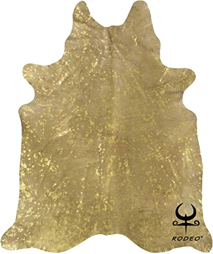Gold On Beige Acid Washed RODEO Cowhide Rug Large
