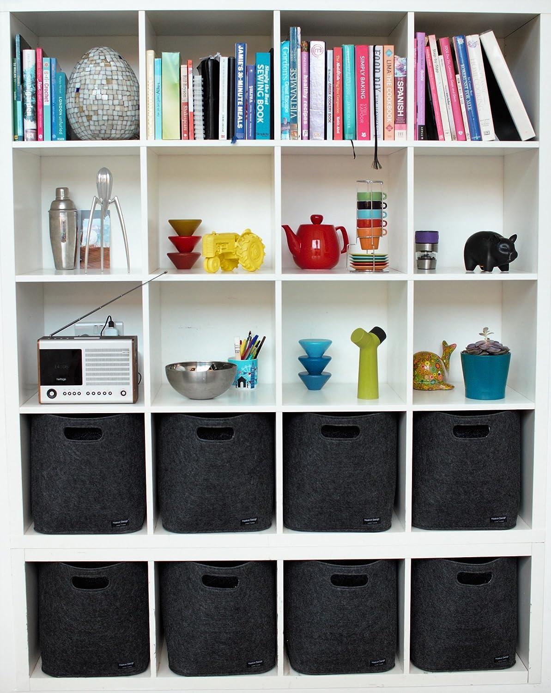new product 37902 9b3c6 Set of 4 Storage Basket for Ikea Kallax Storage Unit - Grey ...