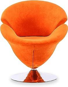 Ceets Accent Swivel Velvet Tulip Chair, One Size, Orange