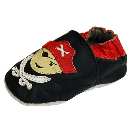 Lappa.de - Zapatillas de piel para niños (suela de goma, tallas de la 19 a la 31), diseño de pirata, color negro: Amazon.es: Zapatos y complementos