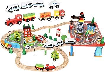 KRUZZEL Tren de Juguete de Madera Ferrocarril de Madera para niños y niñas 88 Piezas de Madera 9363: Amazon.es: Juguetes y juegos