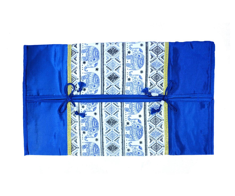 Thai Silk Tissue Box Cover Holder Luxury Home Decoration (Blue)