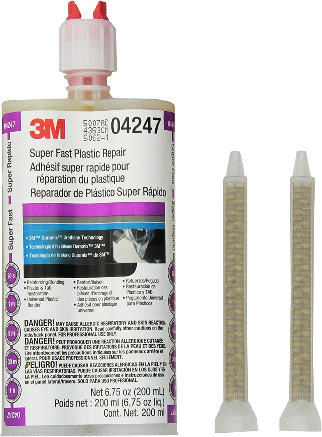 3M Super Fast Plastic Repair, 04247, Clear, 200 mL Cartridge