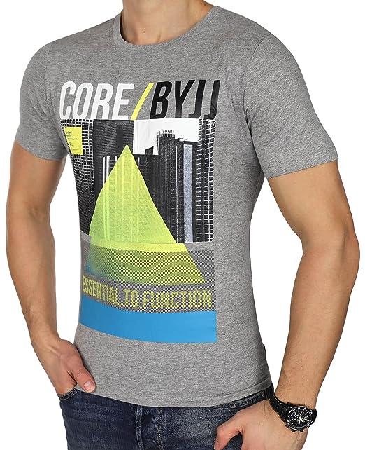 JACK & JONES Herren T-Shirt jcoEMILIO jcoVISION jcoWHELK Print Rundhals  Mehrfarbig Slim Fit und