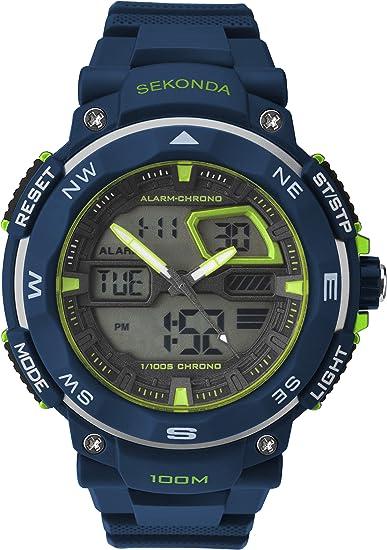 Sekonda 1163.05 Reloj digital para hombre con esfera negra y correa de plástico negra