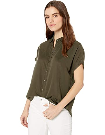 a0d45ef327ce88 Daily Ritual Women s Tencel Relaxed-Fit Short-Sleeve Shirt