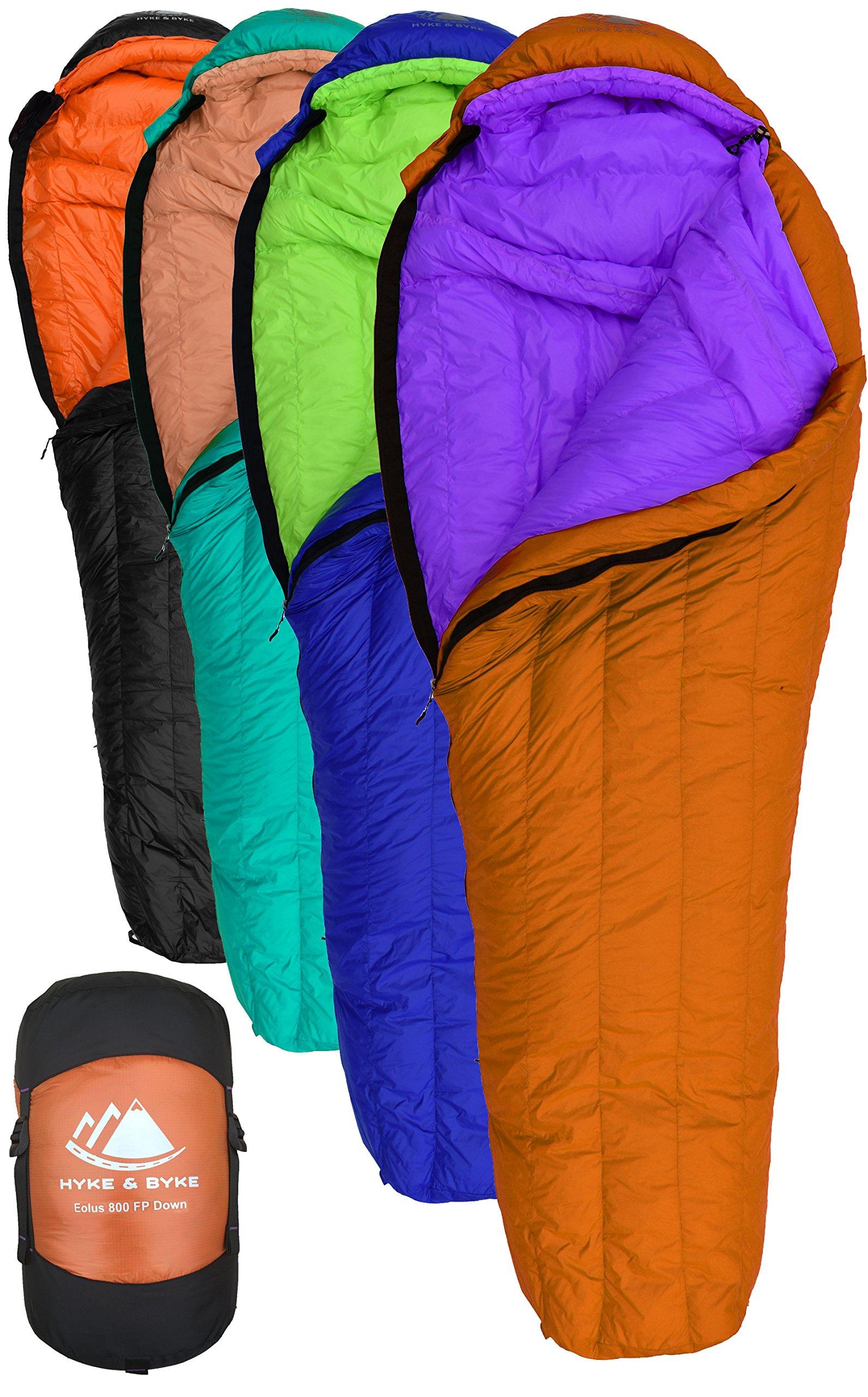Hyke & Byke Eolus 15 & 30 Degree F 800 Fill Power Hydrophobic Goose Down Sleeping Bag with ClusterLoft Base - Ultra Lightweight 3 Season Men's and Women's Mummy Bag Designed for Backpacking by Hyke & Byke