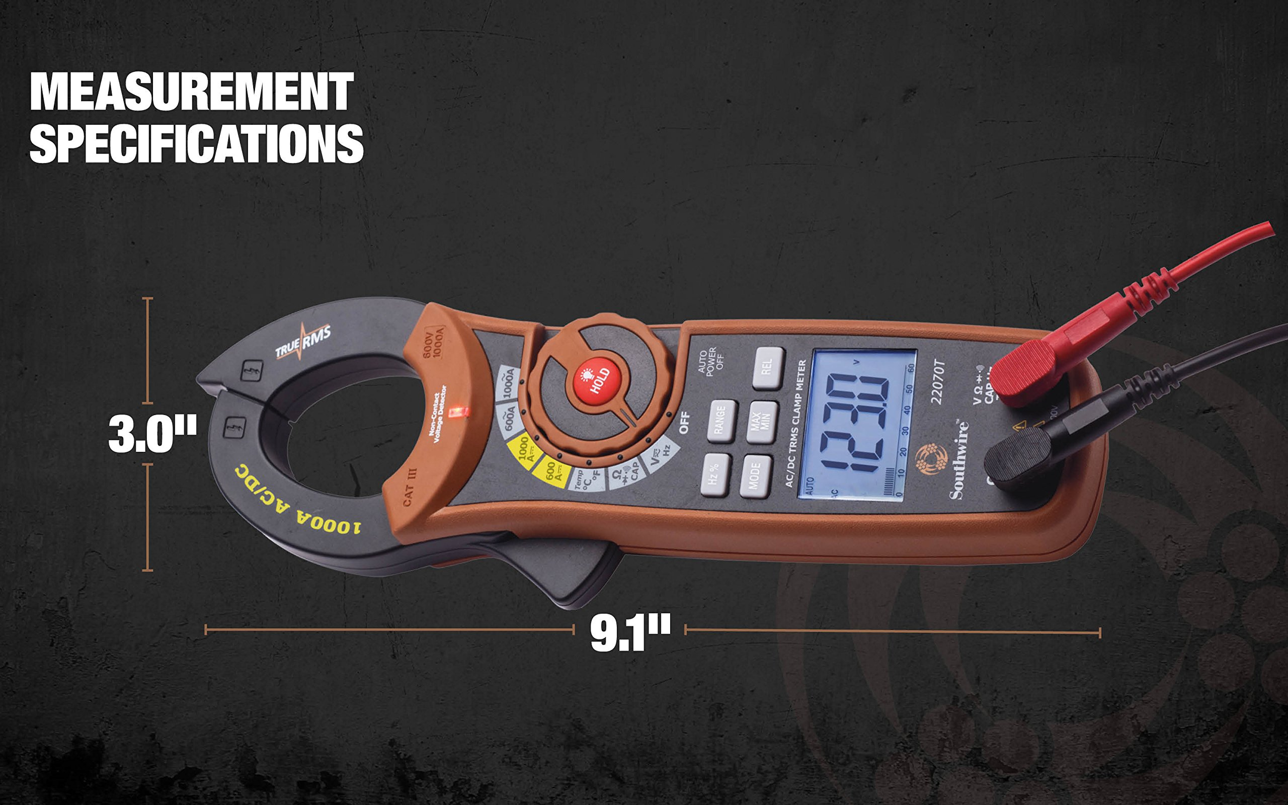 Southwire Tools & Equipment 22070T 1000A AC/DC TrueRMS Clamp Meter, Multimeter with 12 Functions by Southwire Tools & Equipment