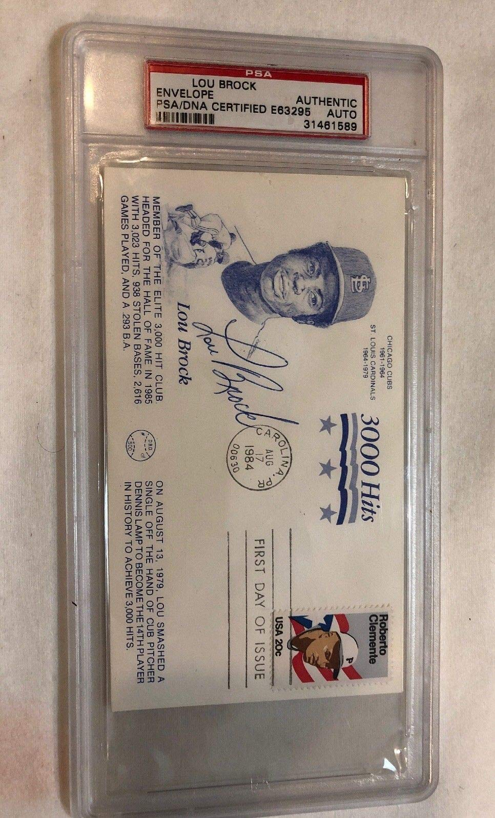 Lou Brock Autographed Signed Fdc First Day Cover 3000 Base Hits Autographed Signed PSA/DNA Authentic Hof