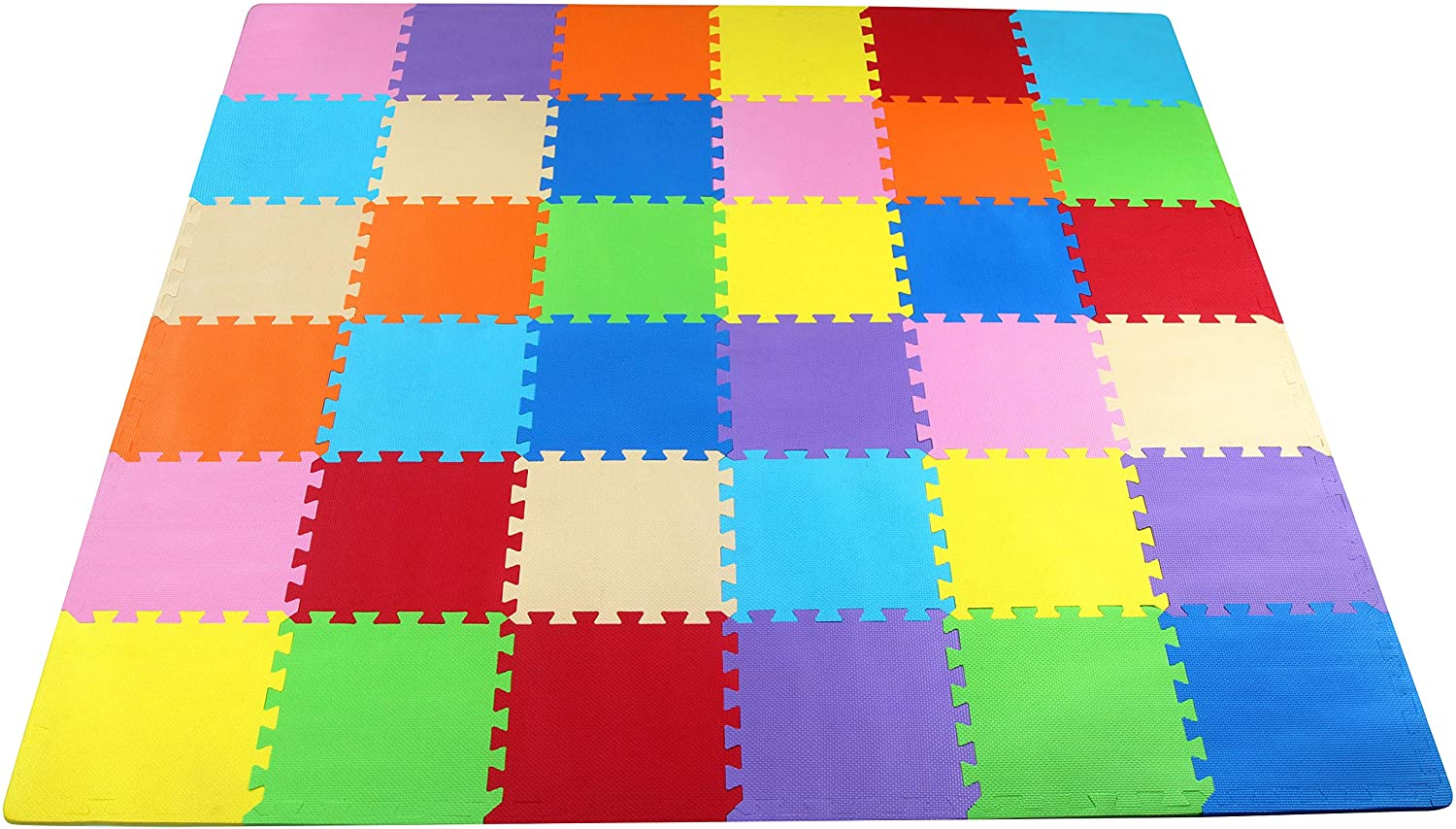 BalanceFrom Kid's Puzzle Exercise Play Mat with EVA Foam Interlocking Tiles, 9 Colors (36 Tiles): Sports & Outdoors
