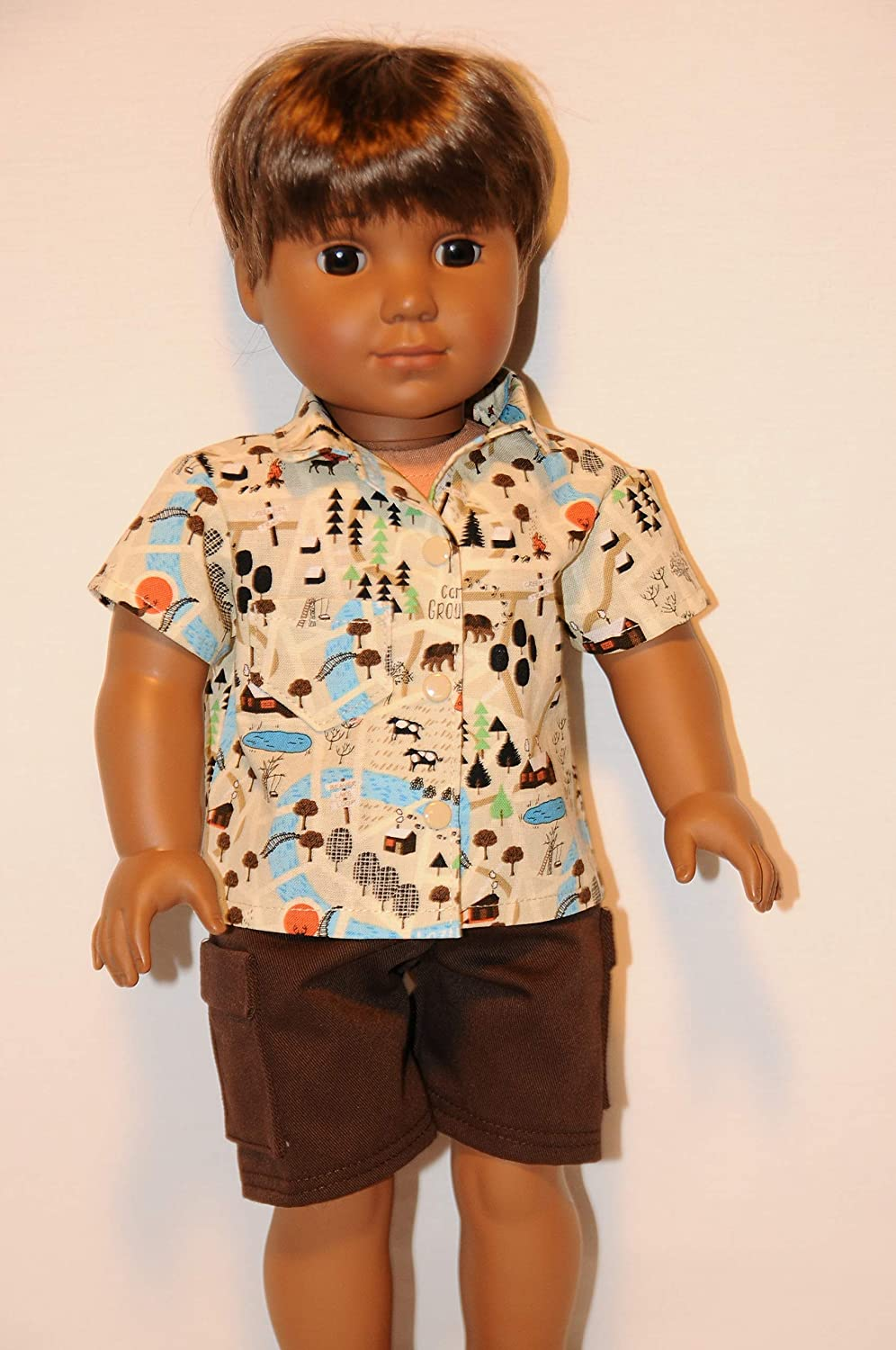 Tan Camping Outfit for 18 Dolls