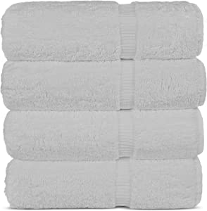 Chakir Turkish Linens Hotel & Spa Quality, Highly Absorbent Towel Set (Bath Towel - Set of 4, White)