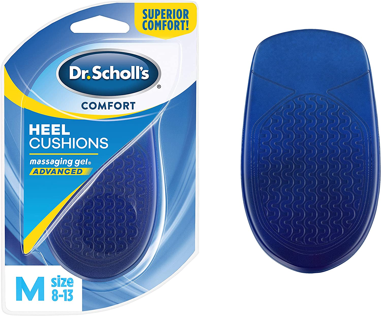 Dr. Scholl's HEEL CUSHIONS with Massaging Gel Advanced // All-Day Shock Absorption and Cushioning to Relieve Heel Discomfort (for Men's 8-13, also available for Women's 6-10): Health & Personal Care