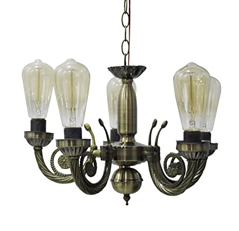 Buy Citra Led 5 Light Antique Vintage White Chandelier Hanging Pendant Ceiling Lamp Fixture For Dining Room Drawing Online At Low Prices In India