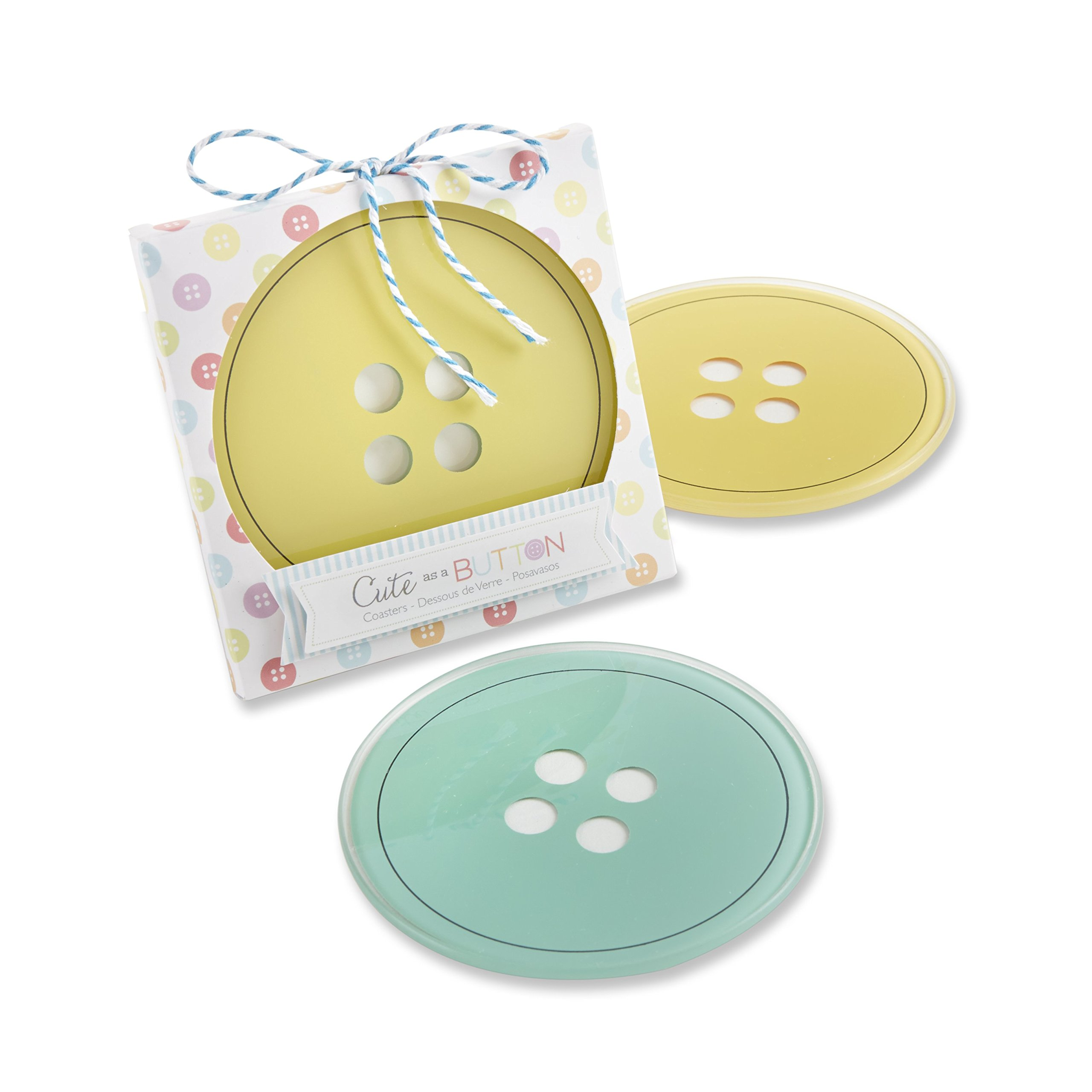 Kate Aspen Cute as A Button Glass Coasters