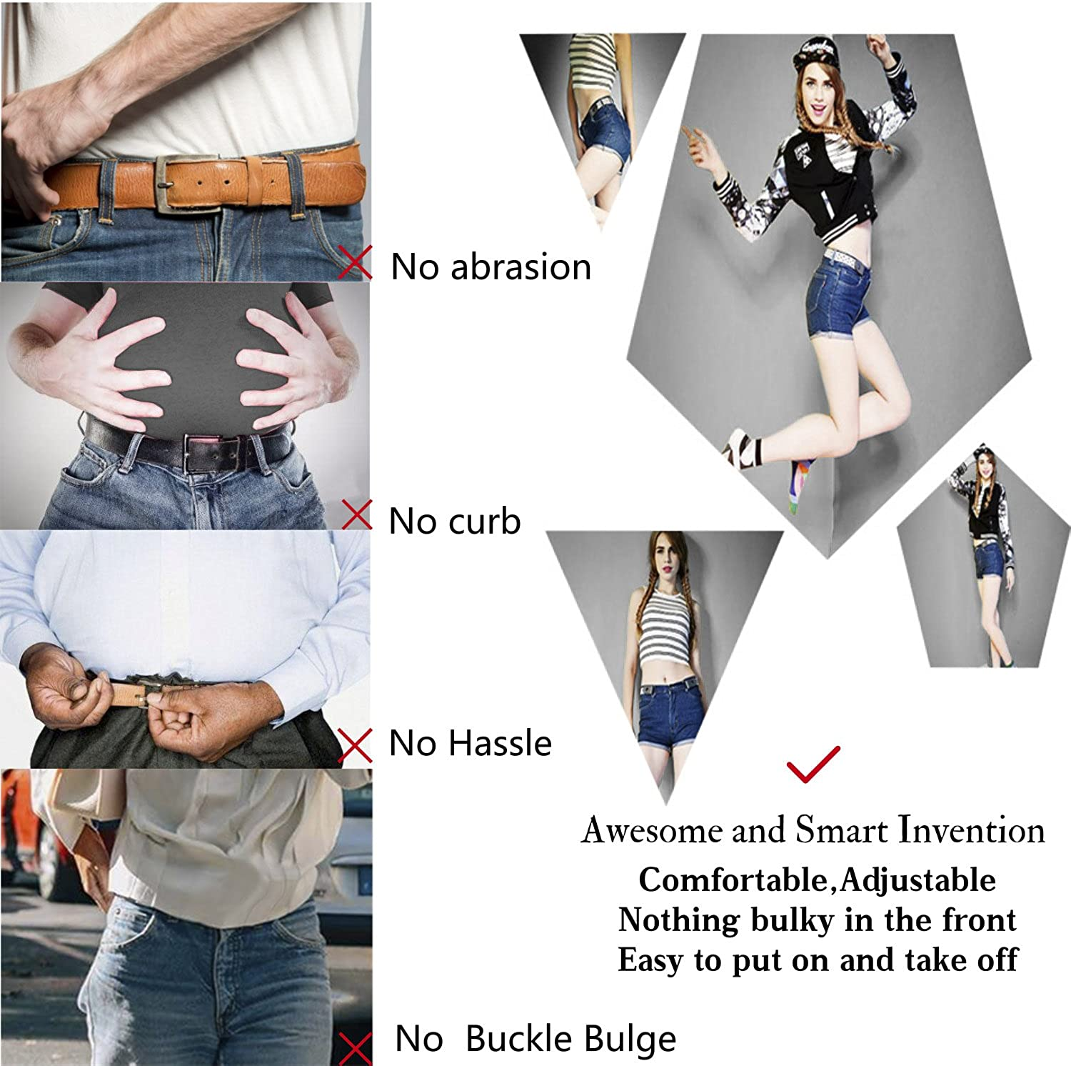 No Buckle Show Belt for Men Buckle Free Stretch Belt for Jeans Pants 1.38 Inches Wide