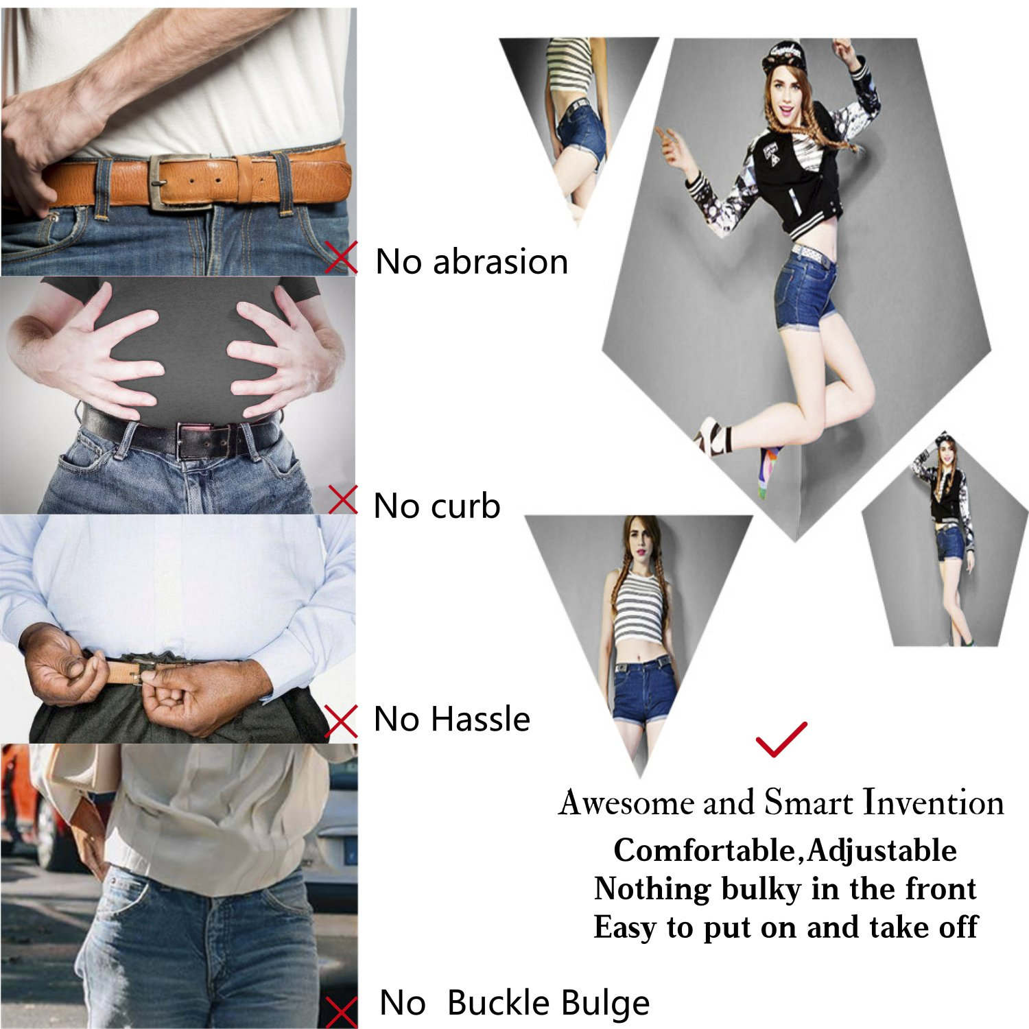 "No Buckle Stretch Belt For Women/Men Elastic Waist Belt Up to 36"" for Jeans Pants by WERFORU (Image #4)"
