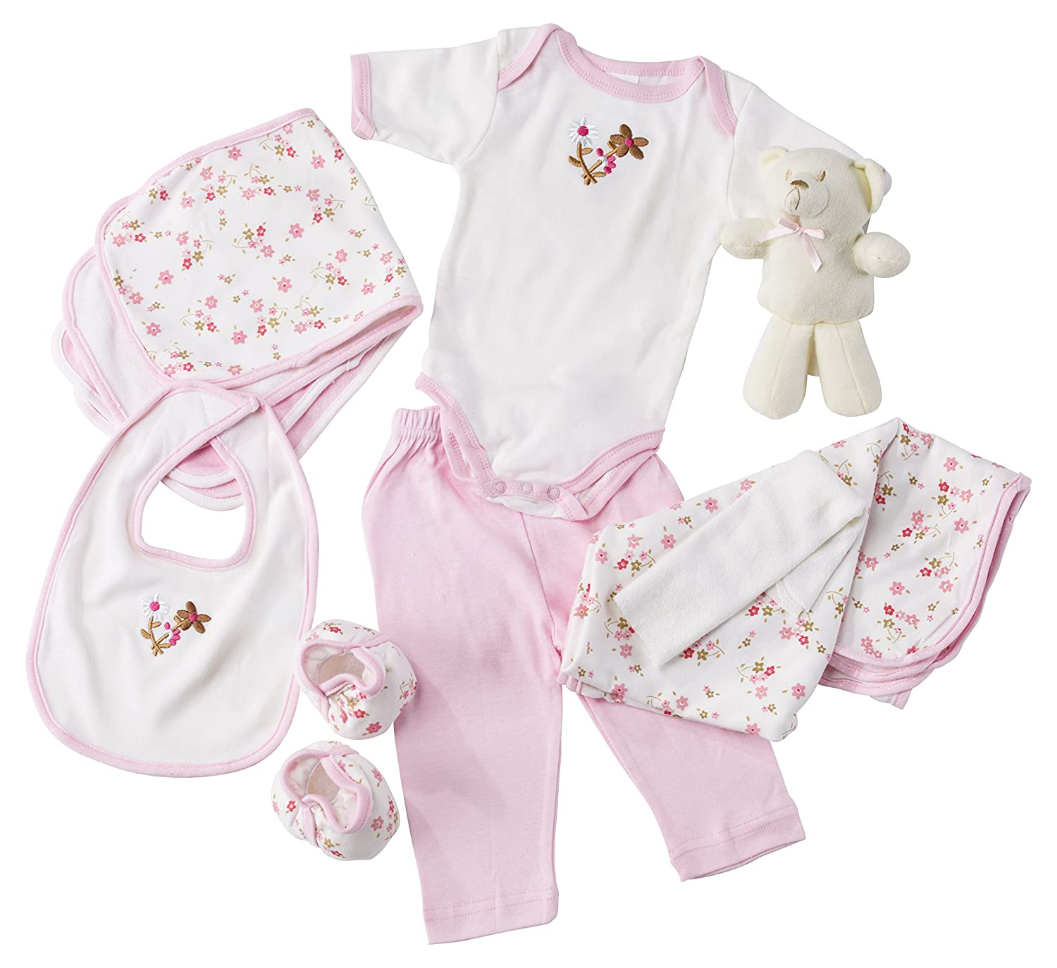 Big Oshi 10 Piece Layette Newborn Baby Gift Basket for Girls – Great Baby Shower or Registry Gift Box to Welcome a New Arrival – All Essentials Including Bodysuit, Blanket, Bib, and Booties, Pink