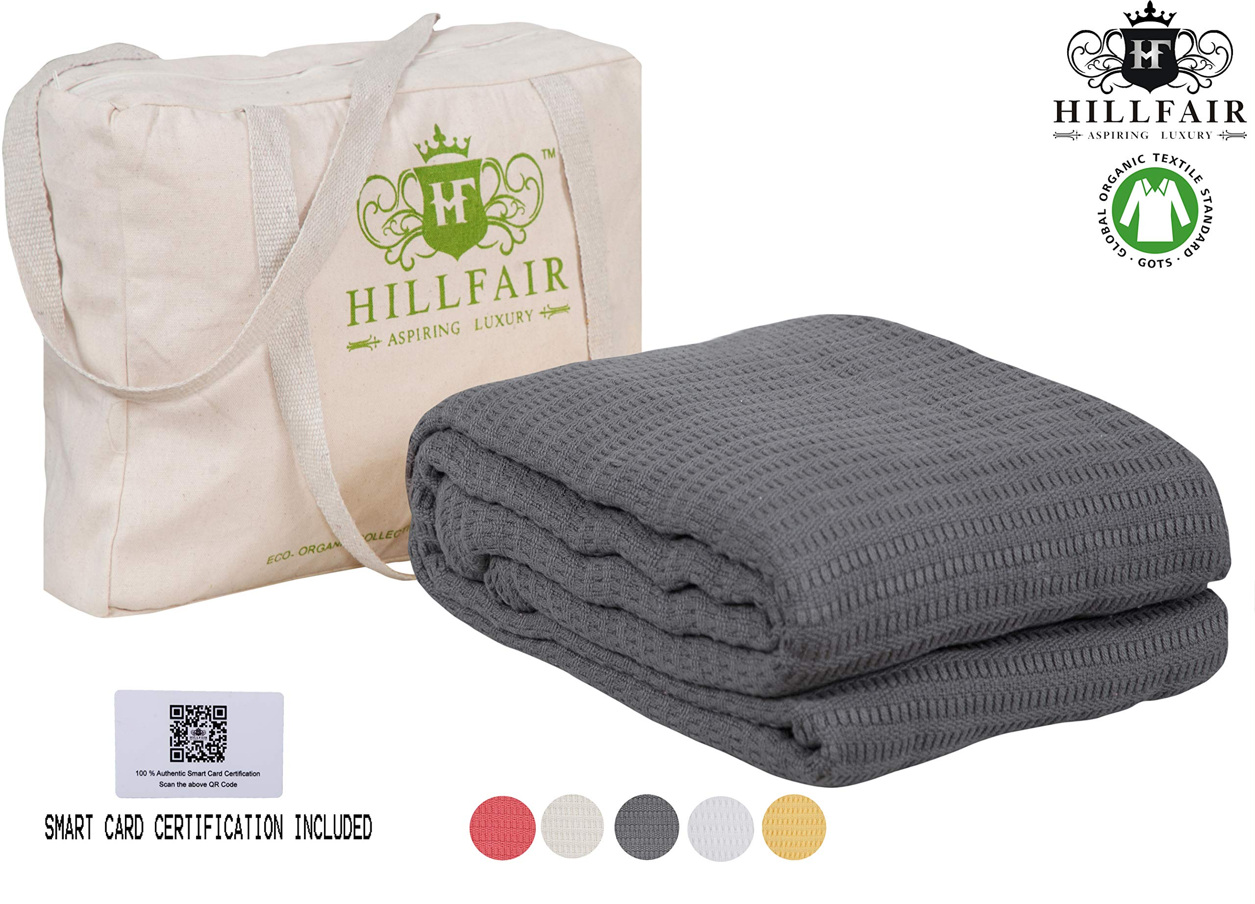 HILLFAIR 100% Certified Organic Cotton Blankets- King Size Bed Blankets- All Season Cotton Blanket- Grey King Size Cotton Blanket- Soft Cozy Multipurpose King Blankets- Organic Cotton Bed Blankets