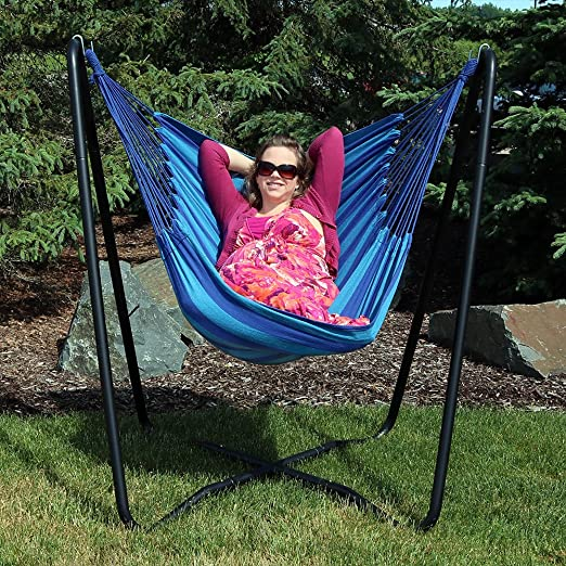 Amazon Com Sunnydaze Hanging Rope Hammock Chair Swing With Space Saving Stand Hanging Chair With Stand For Backyard Patio 330 Pound Capacity Beach Oasis Garden Outdoor