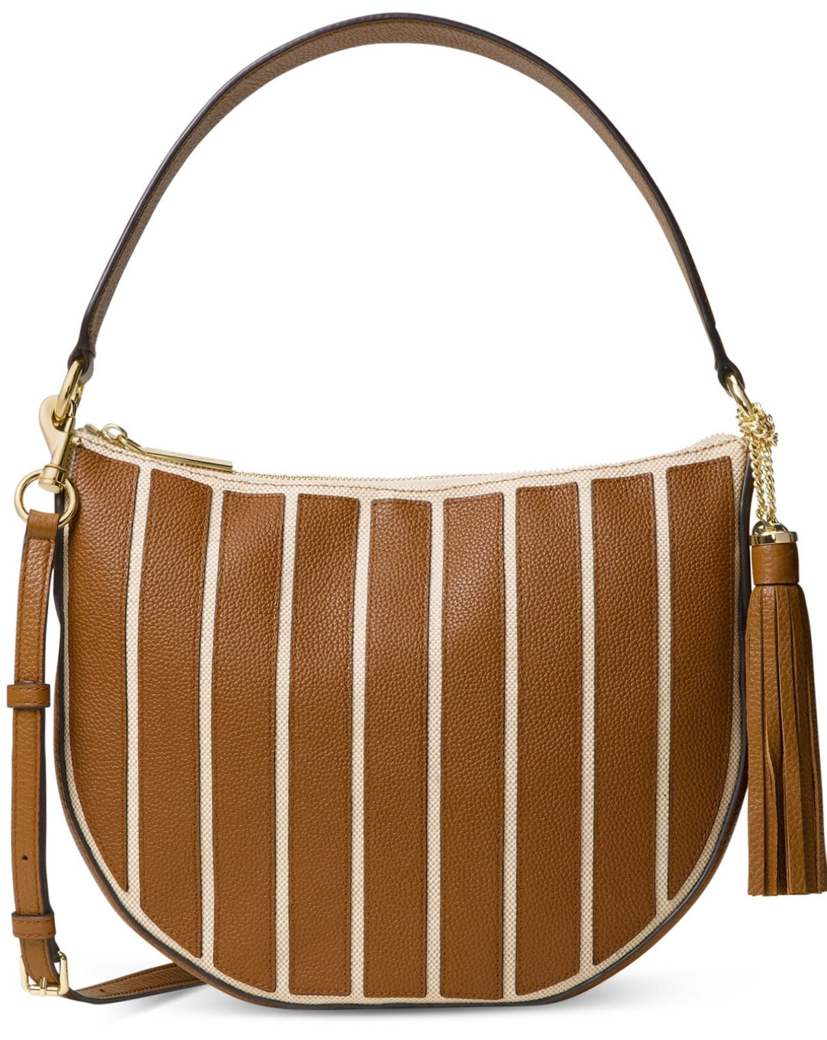 MICHAEL KORS Brooklyn Striped Large Convertible Hobo in Nat/Acorn $378
