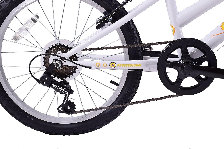 """Carousel 20/"""" Wheel Girls Kids Mountain Bike Single Speed White /& Orange Age 7+"""