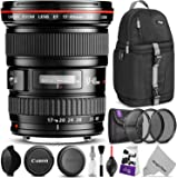 Canon EF 17-40mm F/4L USM Ultra Wide Angle Zoom Lens w/ Advanced Photo and Travel Bundle - Includes: Altura Photo Sling Backpack, UV-CPL-ND4, Camera Cleaning Kit