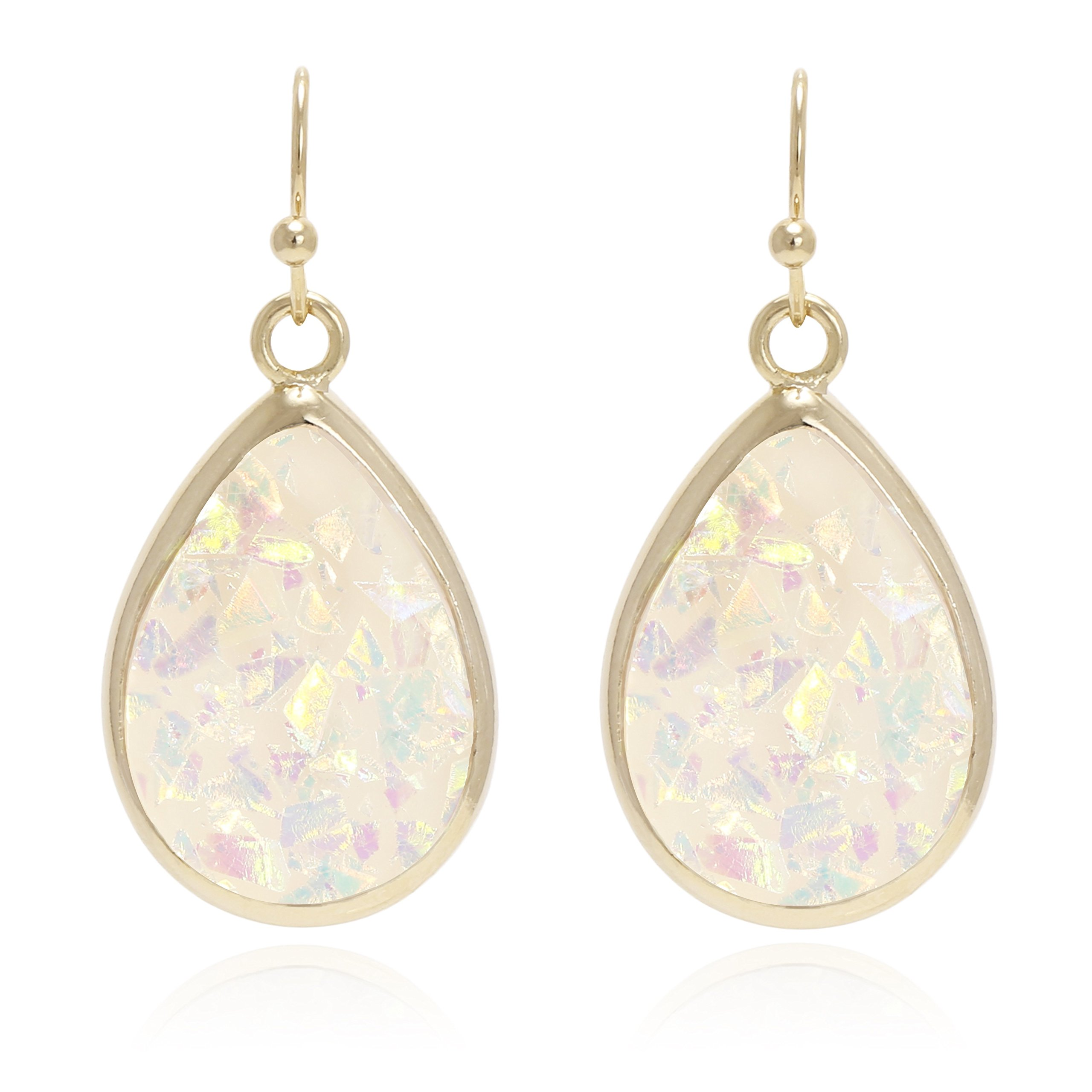 '' Tear of Mermaids'' Iridescent Glitter Opal with Yellow Gold Plated Dangle Drop Statement Earrings for Women