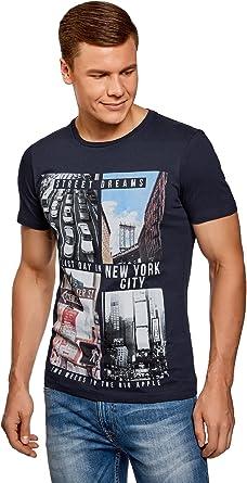 oodji Ultra Hombre Camiseta de Algodón con Estampado Urbano, Azul, ES 58-60 / XXL: Amazon.es: Ropa y accesorios