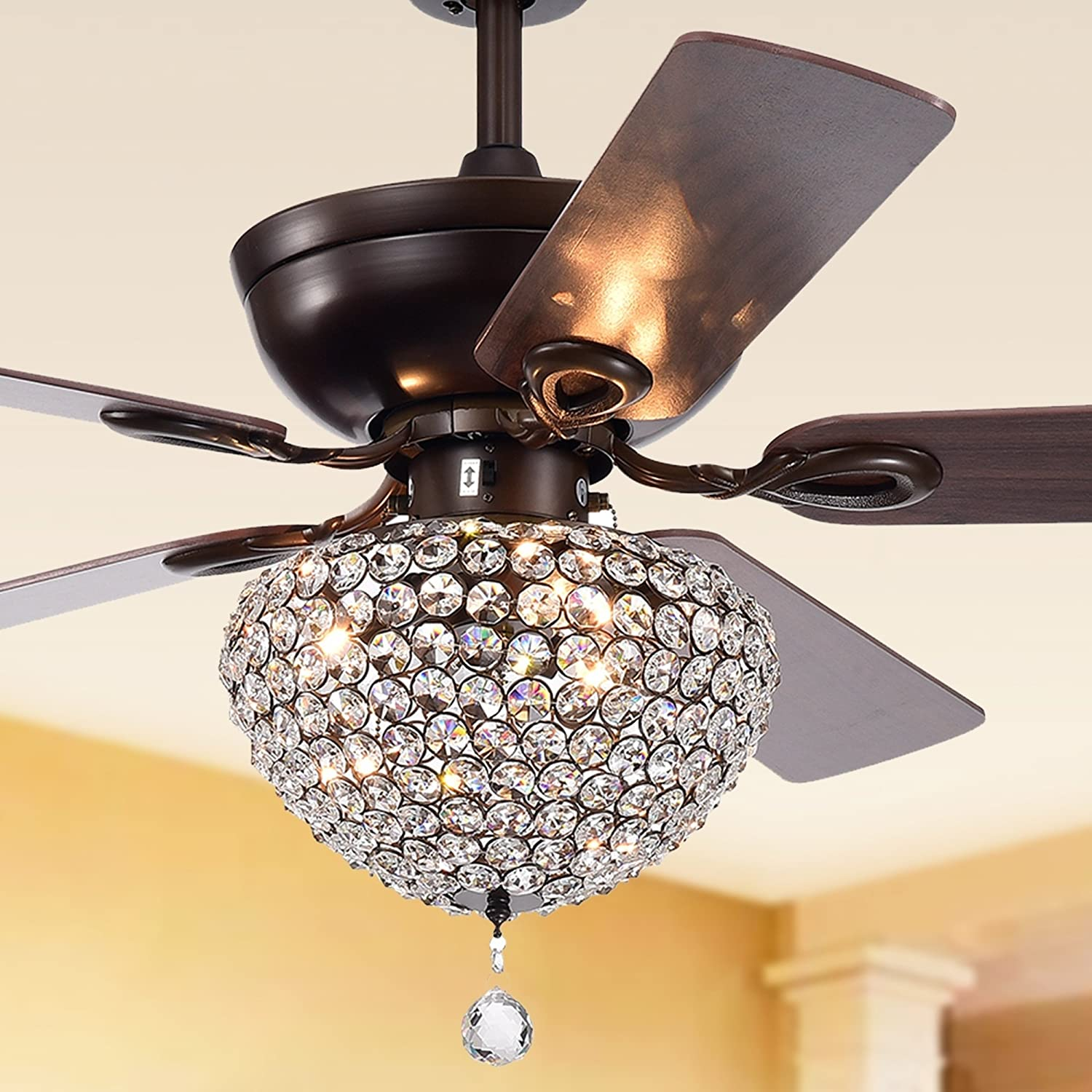 Retro 52 Inch Crystal Ceiling Fan Light Matte Black Finish