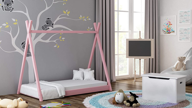 Childrens Beds Home Lit /à baldaquin Simple en Bois Massif Pas de Matelas Inclus Style Tepee de Titus pour Enfants Enfants Enfant Junior 140x70, Rose