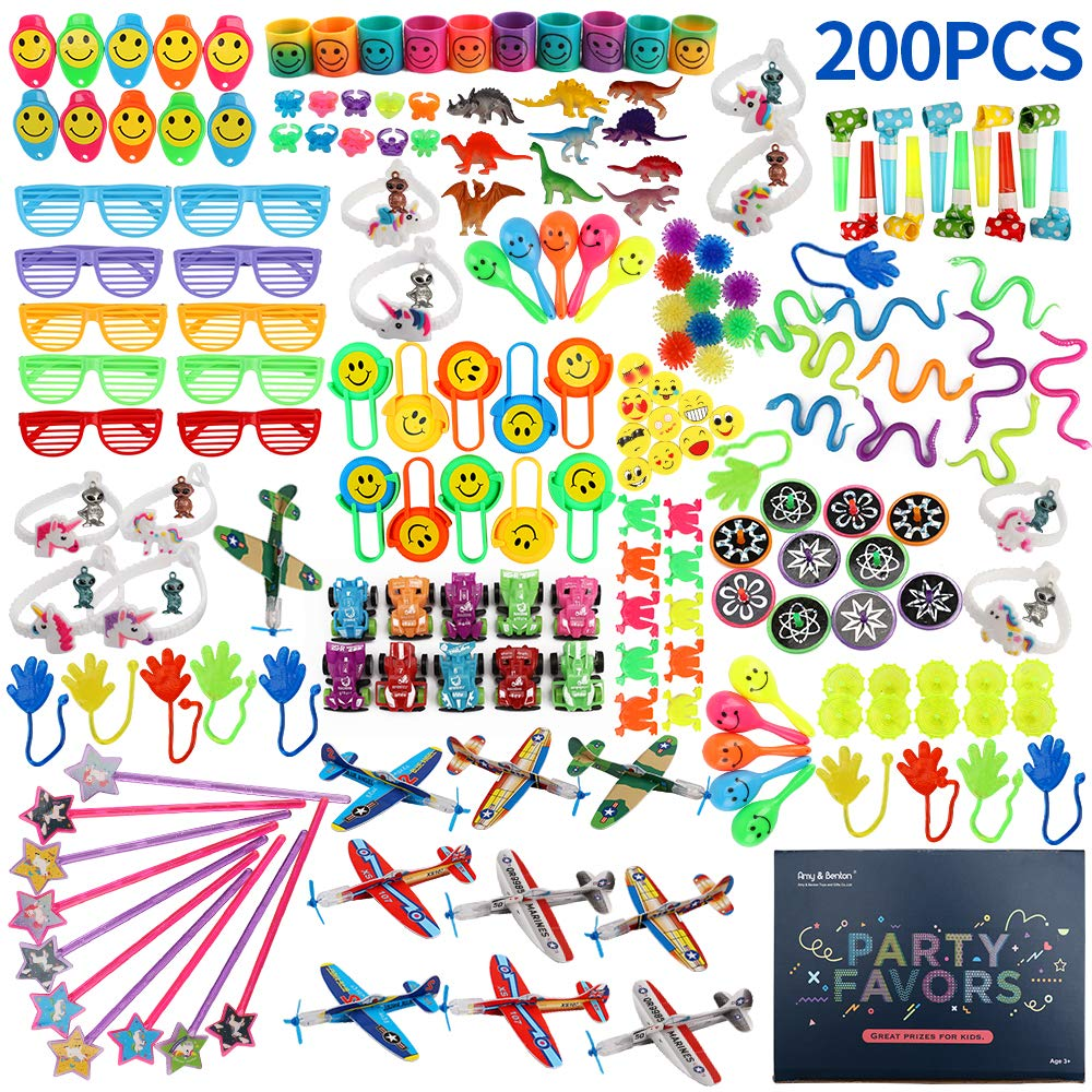 Amy&Benton 200PCS Goodie Bag Fillers Party Favors for Kids Birthday Pinata Filler Toy Assortment Prizes for Kids Classroom Rewards by Amy & Benton