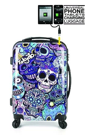 71233597644673 Tokyoto Ryanair / Easyjet Hand Luggage / Cabin Suitcase Trolley, Blue  Skulls, SIZE: