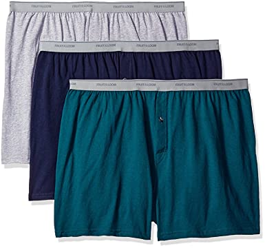 19e26e751443 Fruit of the Loom Solid Knit Boxers 3-Pack (Colors and patterns may ...