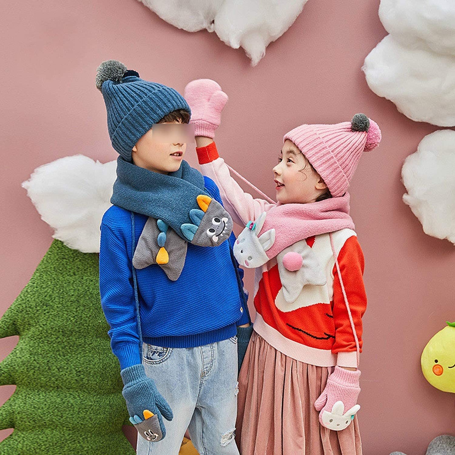 ChildrenS Winter Hat Scarf With Gloves Knitted Hat With Scarf Velvet Kids Hat /& Scarf Cartoon