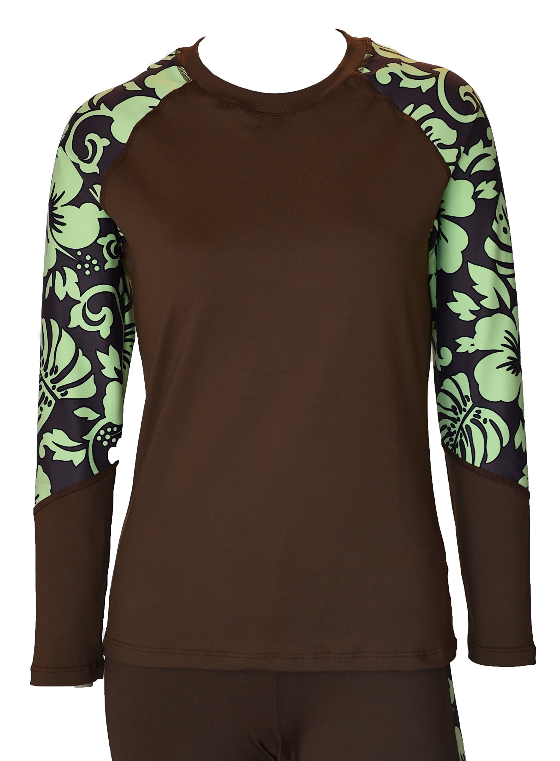 Private Island Hawaii UV Women Rash Guard Swim Yoga Active Workout Long Sleeve (M, BwG-RSRGT) by Private Island