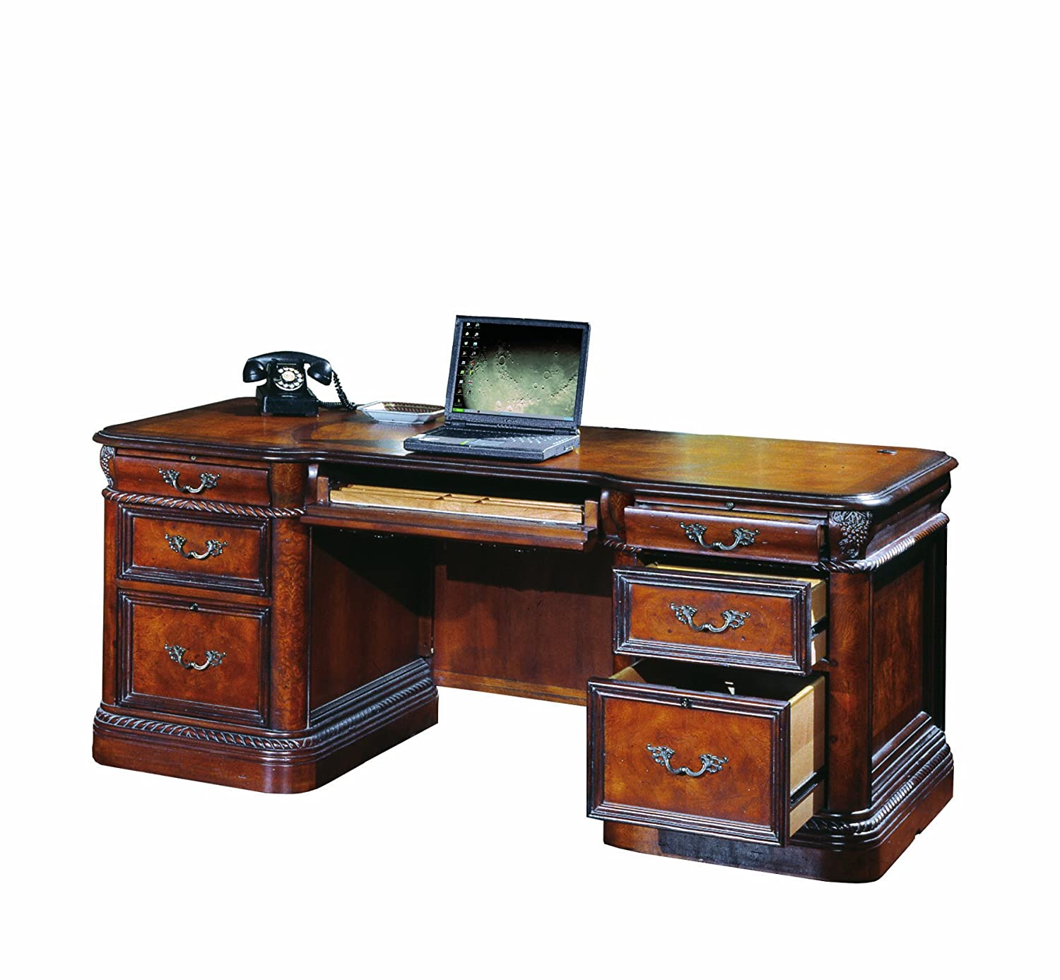 amazoncom vineyard italian style executive desk home office computer furniture kitchen dining