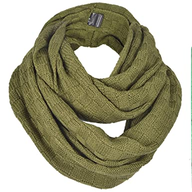 Forbusite Men Plaid Pattern Knit Winter Infinity Scarf E5031b Army