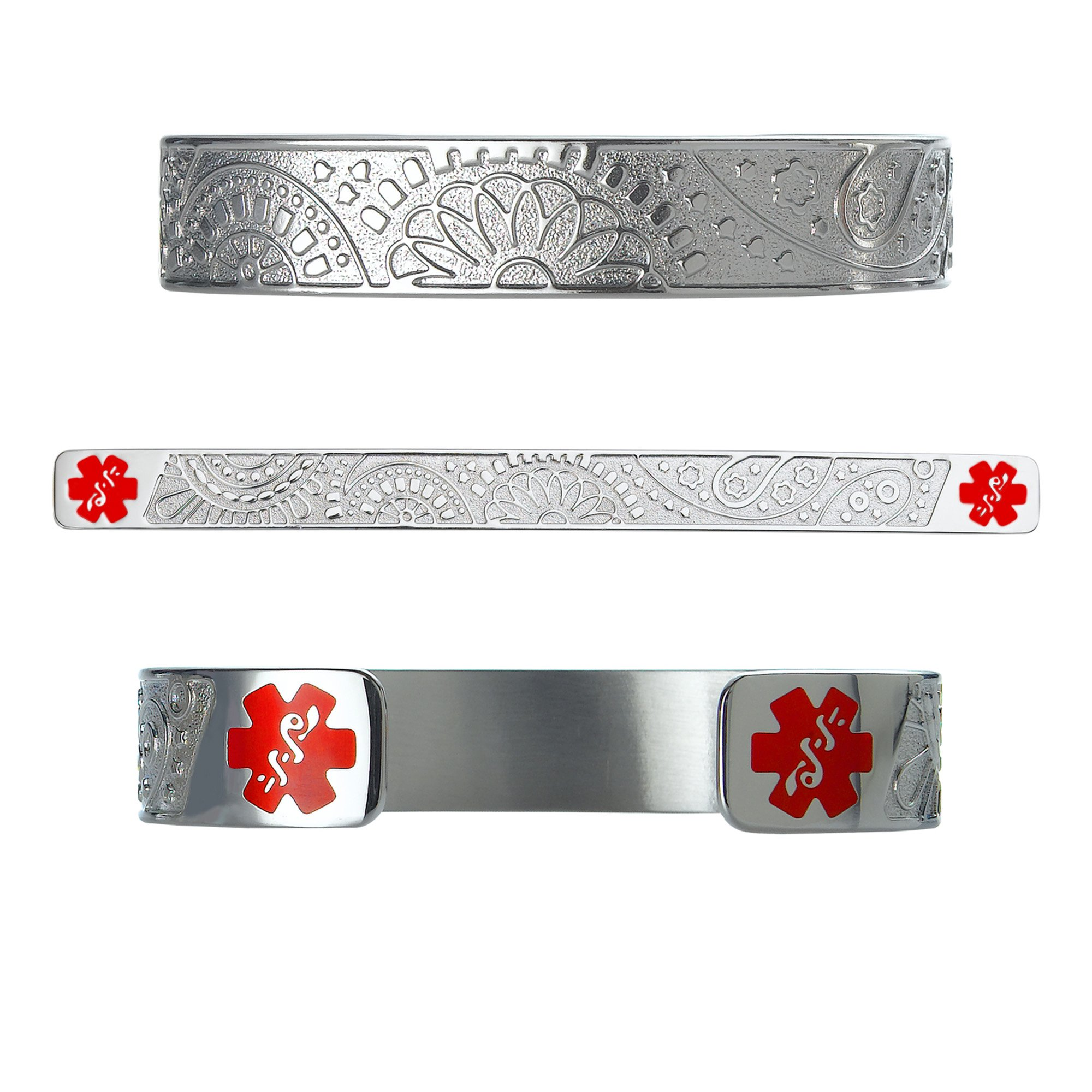 Divoti Custom Engraved Fancy Paisley 316L Medical Alert Bracelet -6'' Cuff (fits 6.5-8.0'') - Red